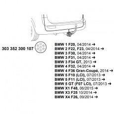 Комплект электрики фаркопа Westfalia 303352300107, BMW