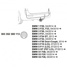 Комплект электрики фаркопа Westfalia 303352300113, BMW
