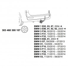 комплект электрики фаркопа Westfalia 303460300107 BMW